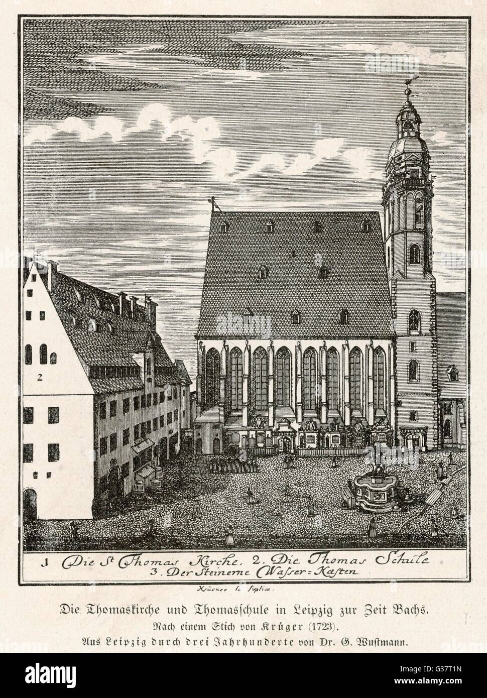 St. Thomas Church, Leipzig, at the time of Bach. Date: 1723
