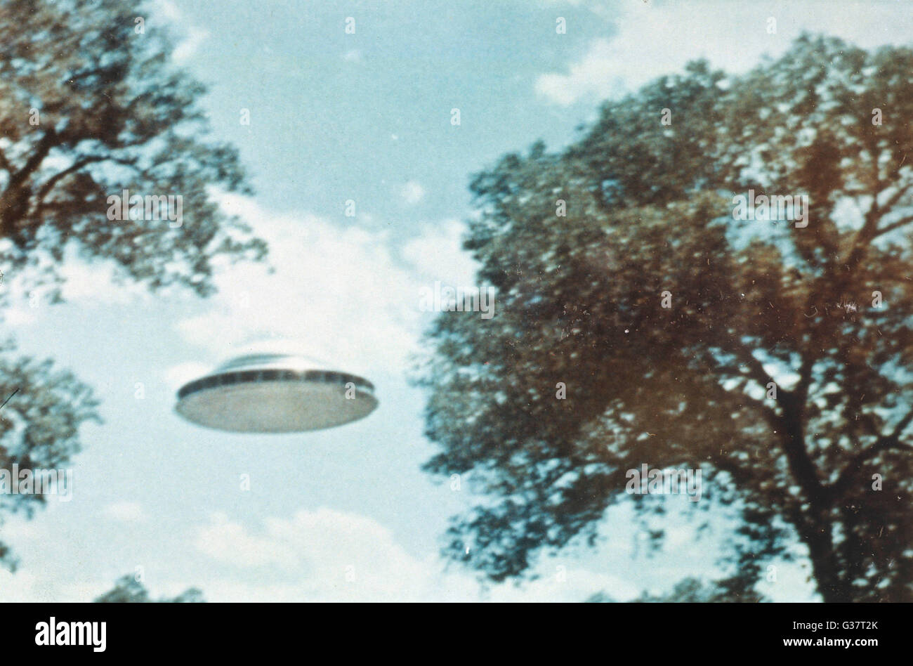 UFO from Coma Berenices whose  nine occupants spoke with Paul  Villa for 90 minutes at  Peralta, though what they - Stock Image