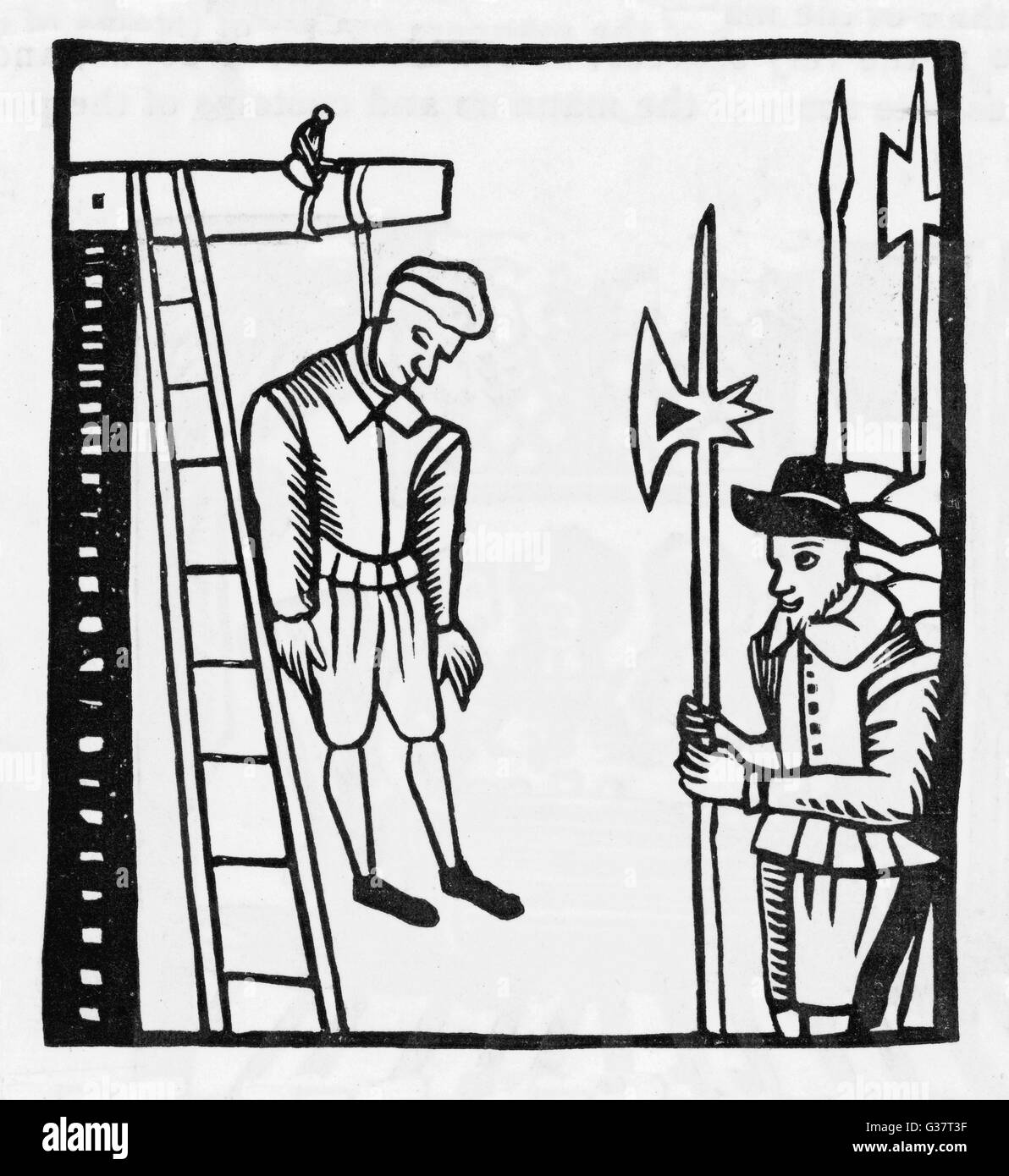 HANGING: prisoner publicly hanged from gallows        Date: Sixteenth century - Stock Image
