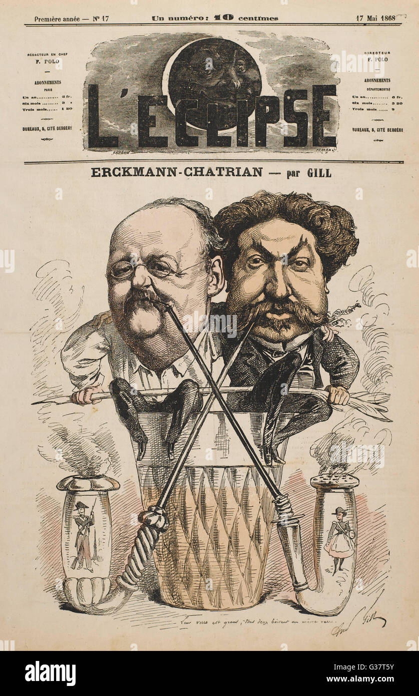 EMILE ERCKMANN and LOUIS CHATRIAN  French co-authors who wrote  under the name Erckmann- Chatrian.     Date: 1822 - Stock Image