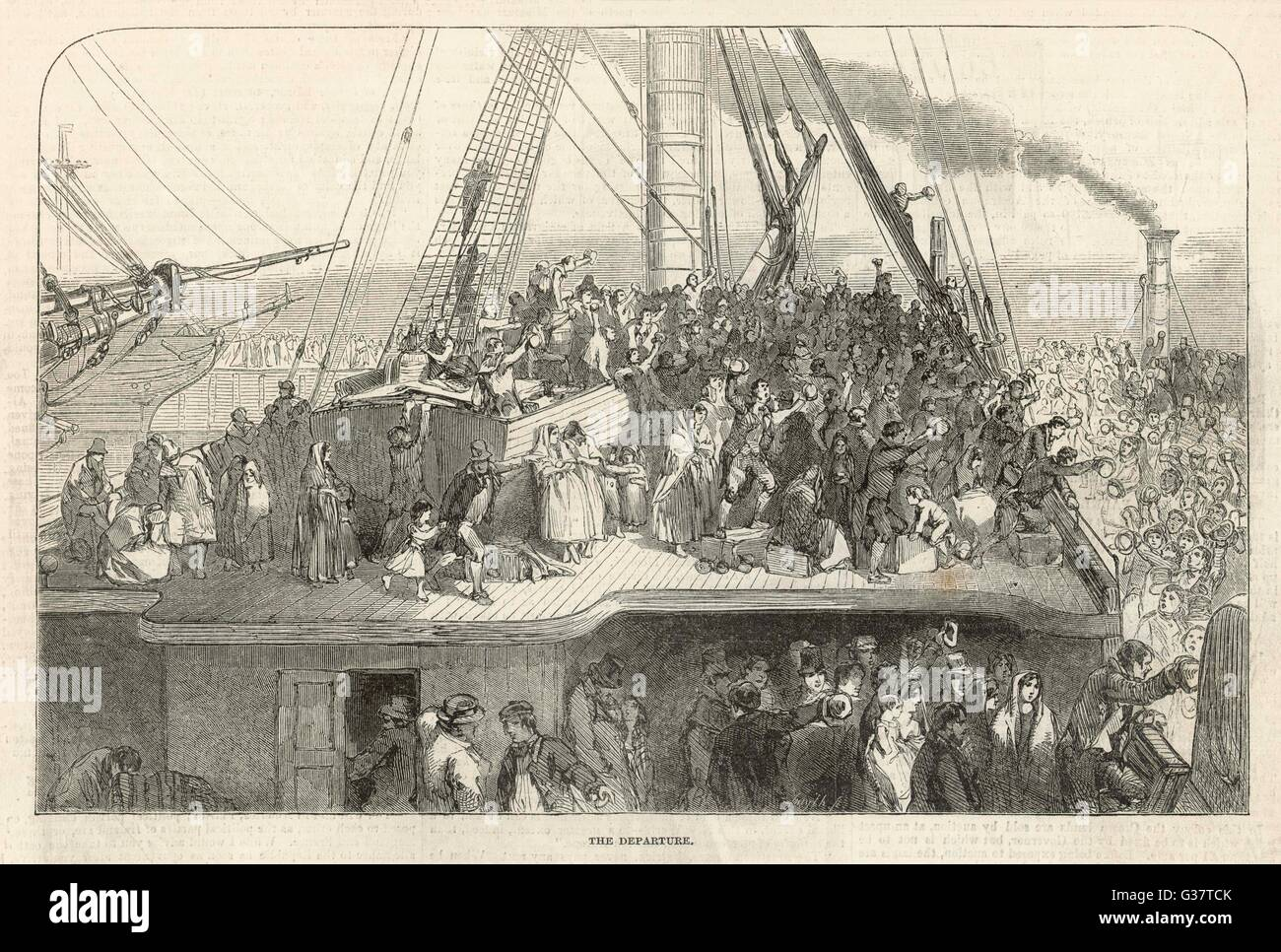 Departure of an emigrant ship from Liverpool for America        Date: 1850 - Stock Image