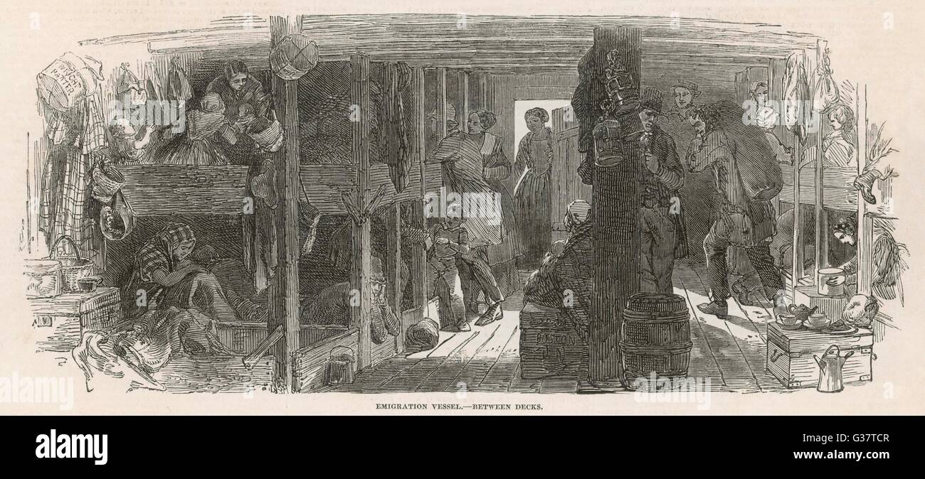 Between decks on an emigrant ship bound for America        Date: 1851 - Stock Image