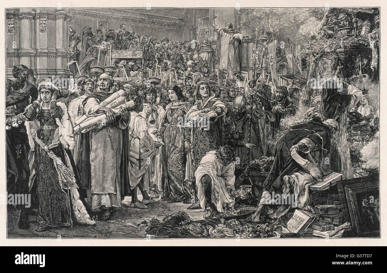 SAVONAROLA calls on the people  of Firenze to give up their  luxuries        Date: 1491 - Stock Image