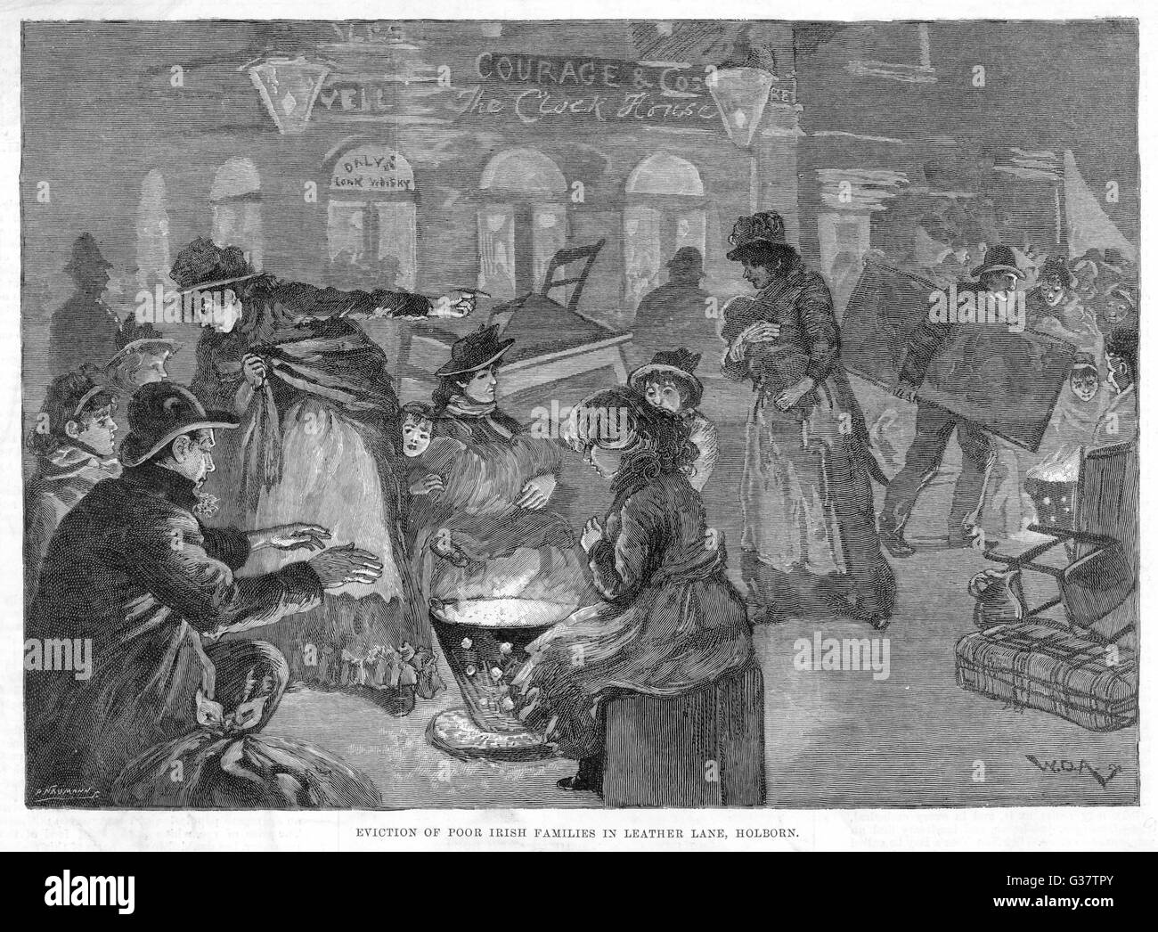 130 poor Irish folk evicted  from 'filthy, unwholesome and  overcrowded premises' in  Leather Lane, Holborn, - Stock Image