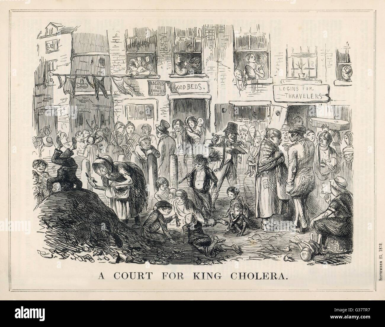 'A COURT FOR KING CHOLERA'          Date: 1852 - Stock Image