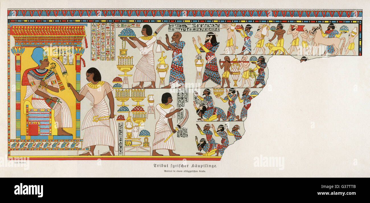 18th Dynasty : Syrian chiefs pay tribute to  the Egyptians        Date: 1570 - 1200 BC - Stock Image