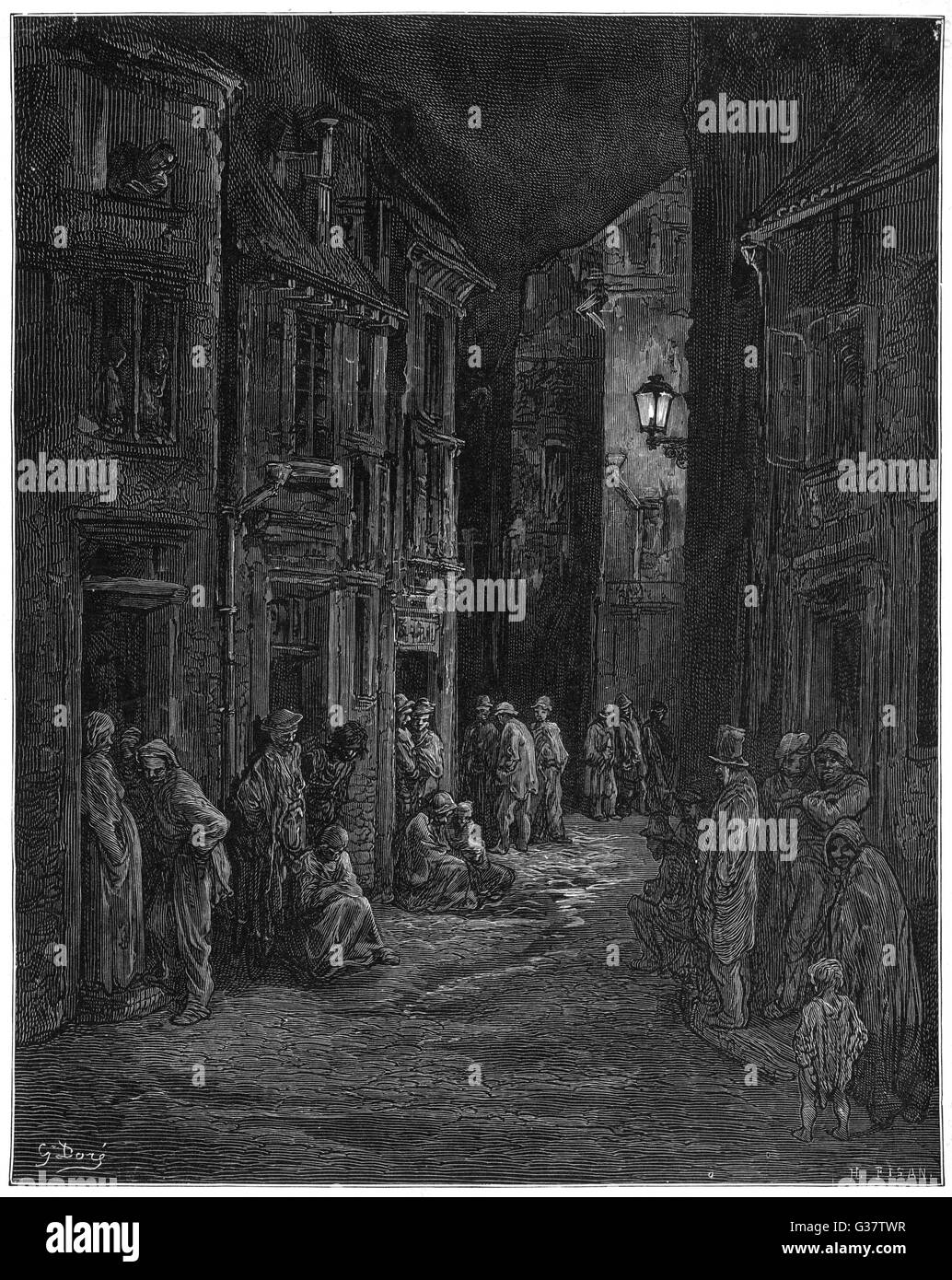 Bluegate Fields - a notorious  breeding-ground for crime and  suffering        Date: 1870 - Stock Image