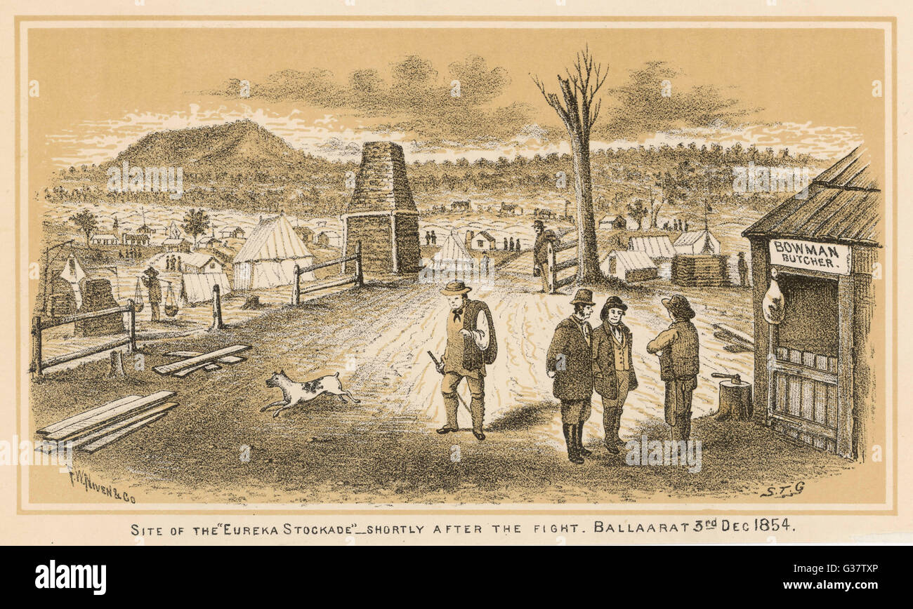 BALLARAT Site of the 'Eureka Stockade',  shortly after the fight        Date: 3 December 1854 - Stock Image