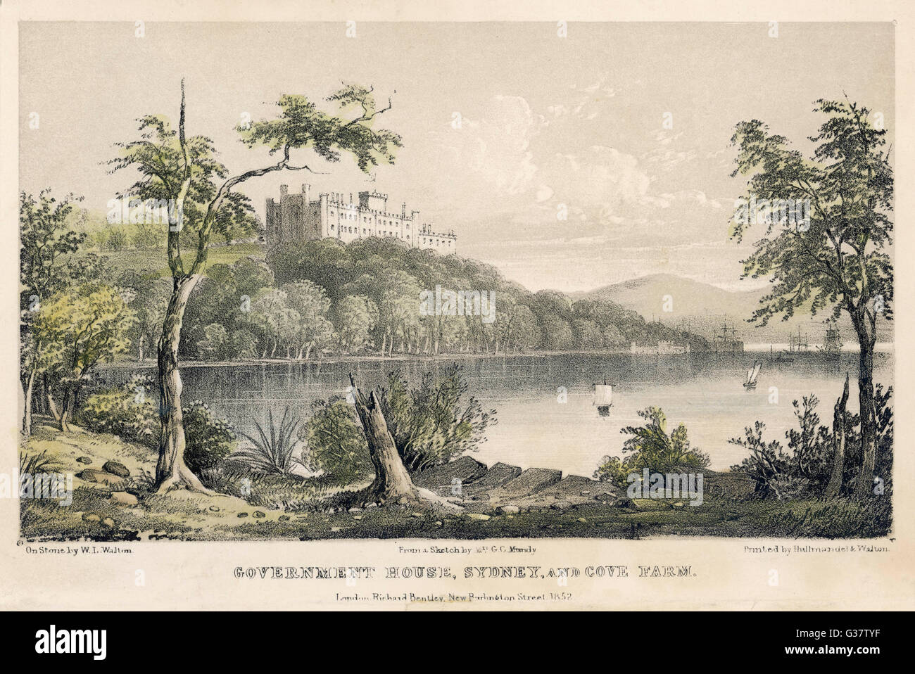 Government House and Cove Farm         Date: 1852 - Stock Image