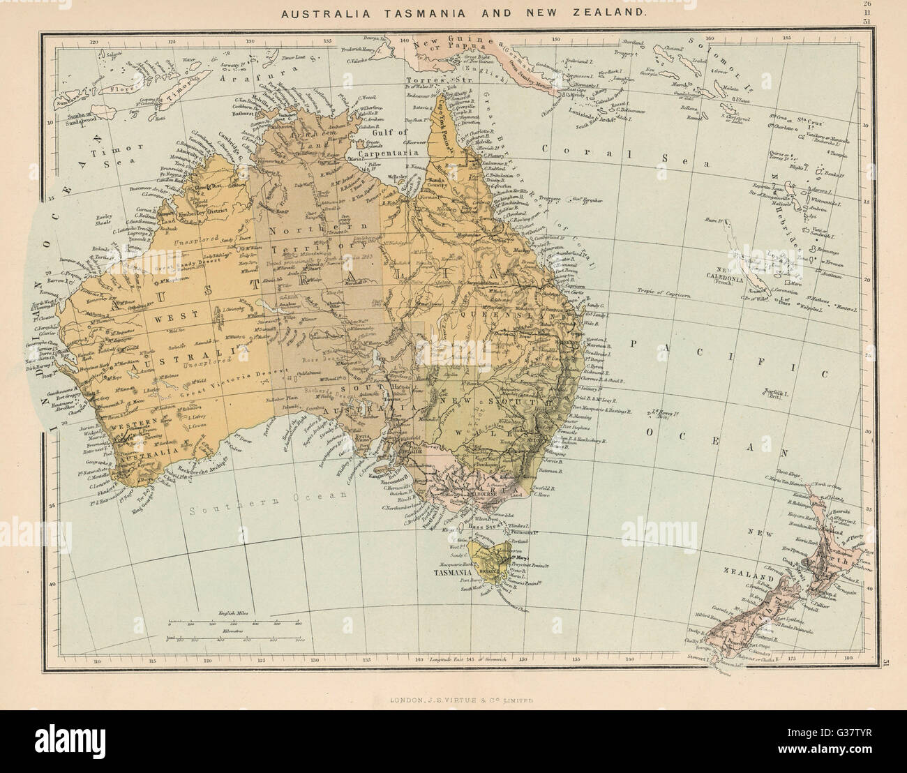 Map showing australia tasmania new zealand and neighbouring stock map showing australia tasmania new zealand and neighbouring islands date circa 1890 gumiabroncs Images