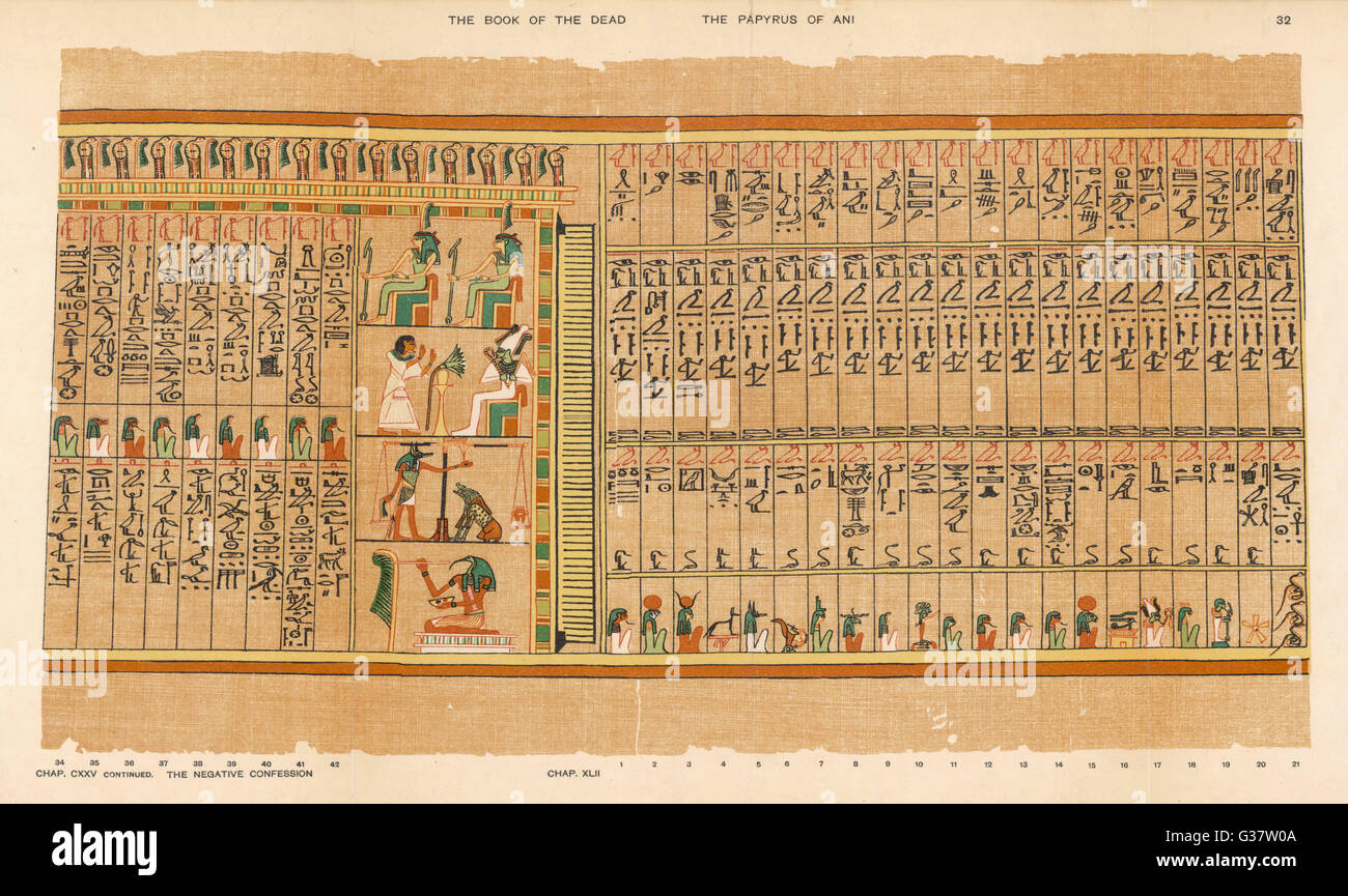 1. Hall of the Two-fold Maat  showing the remaining 9 judges  of the dead. (refer to plate  31) 2. 23 gods to wom - Stock Image