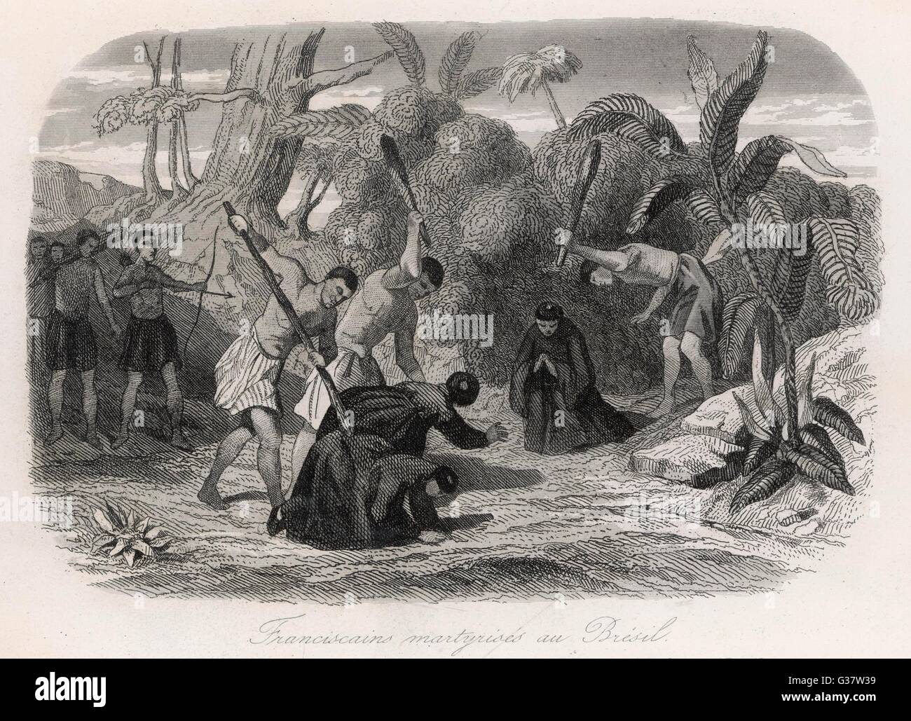 Franciscan missionaries  massacred         Date: 1500 - Stock Image