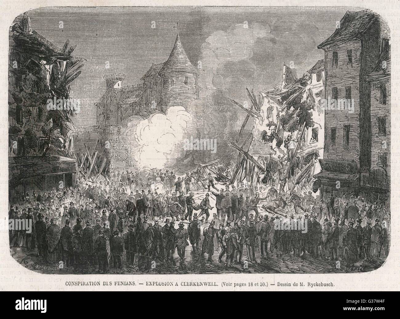 Fenian cause explosions at  Clerkenwell, London         Date: 1868 - Stock Image