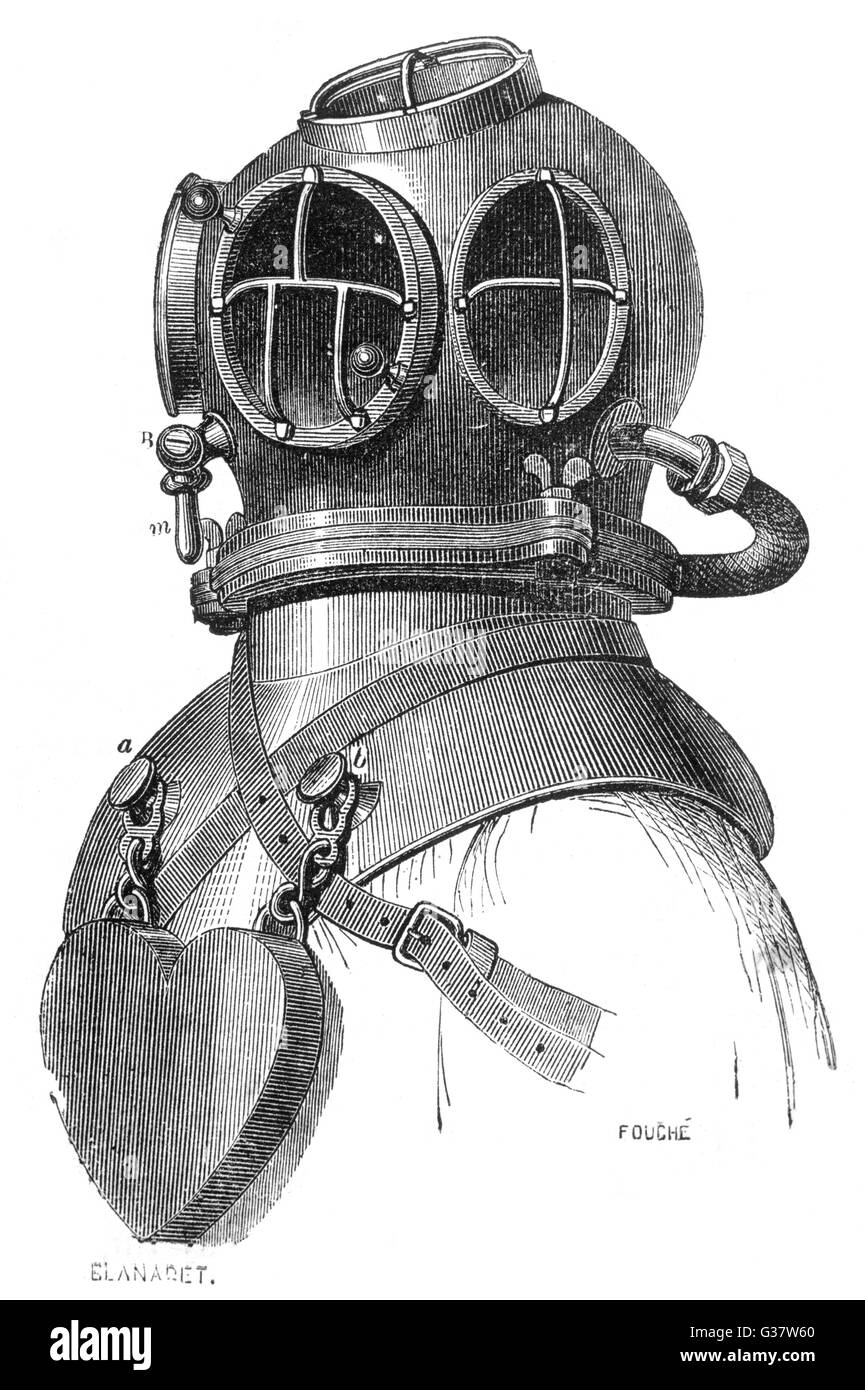 Diving helmet with weights  attached.         Date: circa 1870 - Stock Image