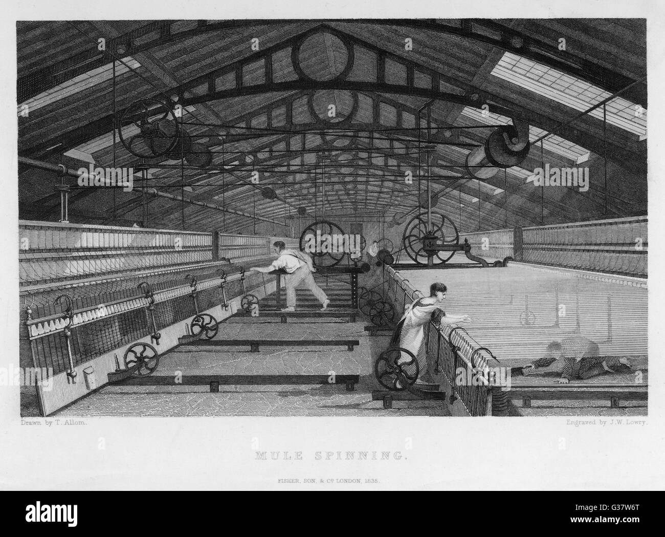 Interior of cotton factory: mule spinning, Lancashire, child sweeps inside moving machine.       Date: 1835 - Stock Image