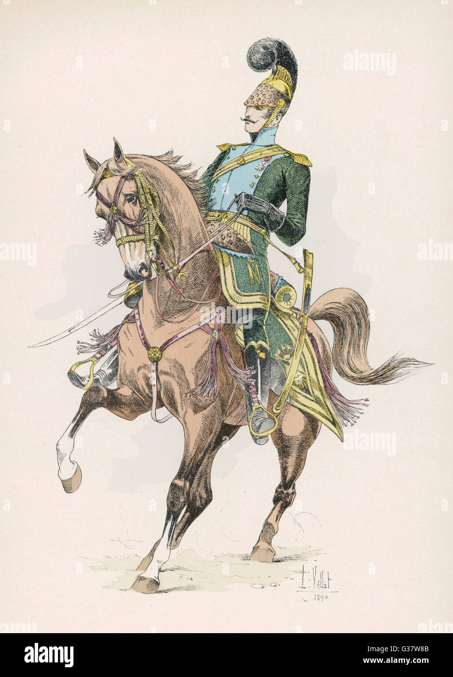 A French mounted lancer.         Date: 1813 - Stock Image