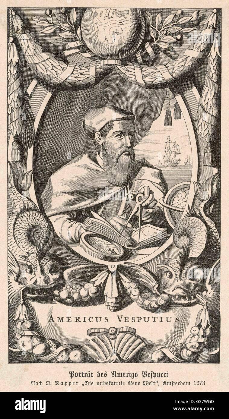 AMERIGO VESPUCCI  Italian navigator        Date: 1454 - 1512 - Stock Image