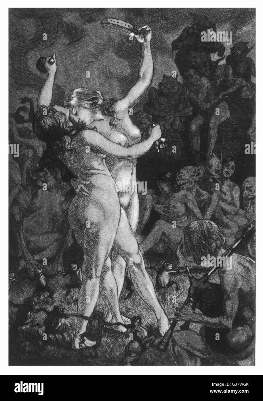 At a sabbat in the Basque  country, two witches enjoy a  lascivious dance while others  enjoy the embraces of demons - Stock Image