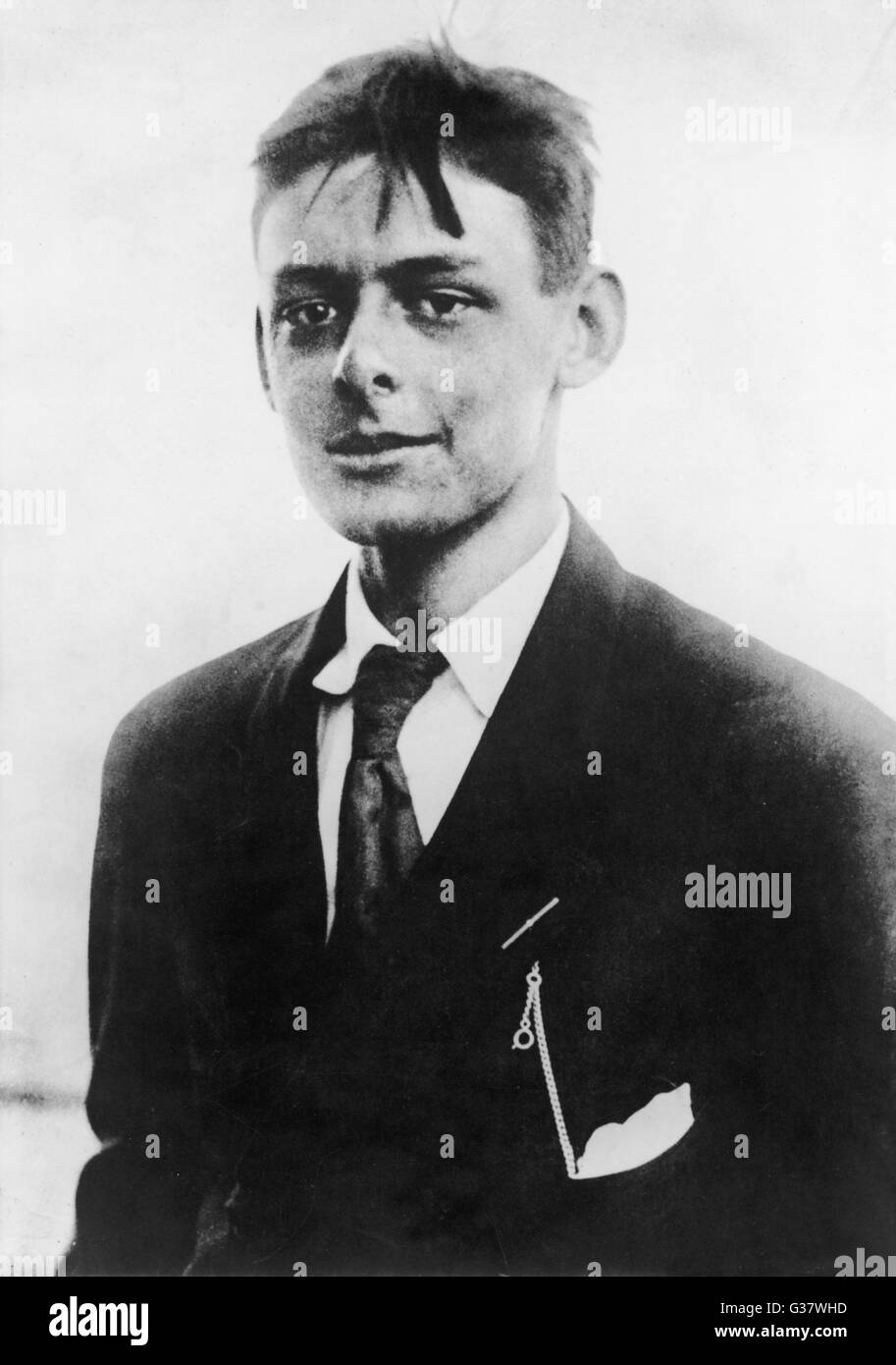 T.S.ELIOT  American-born writer, photographed in his  early twenties      Date: 1888 - 1965 - Stock Image