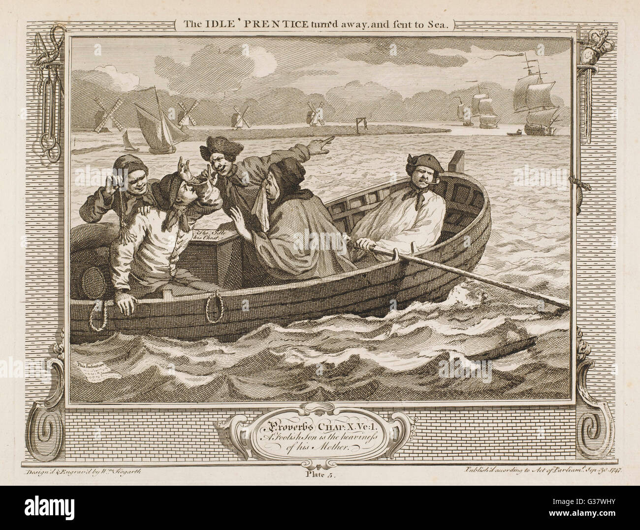 5. The idle 'prentice turn'd away and sent to sea (final destination unknown).     Date: 1747 - Stock Image