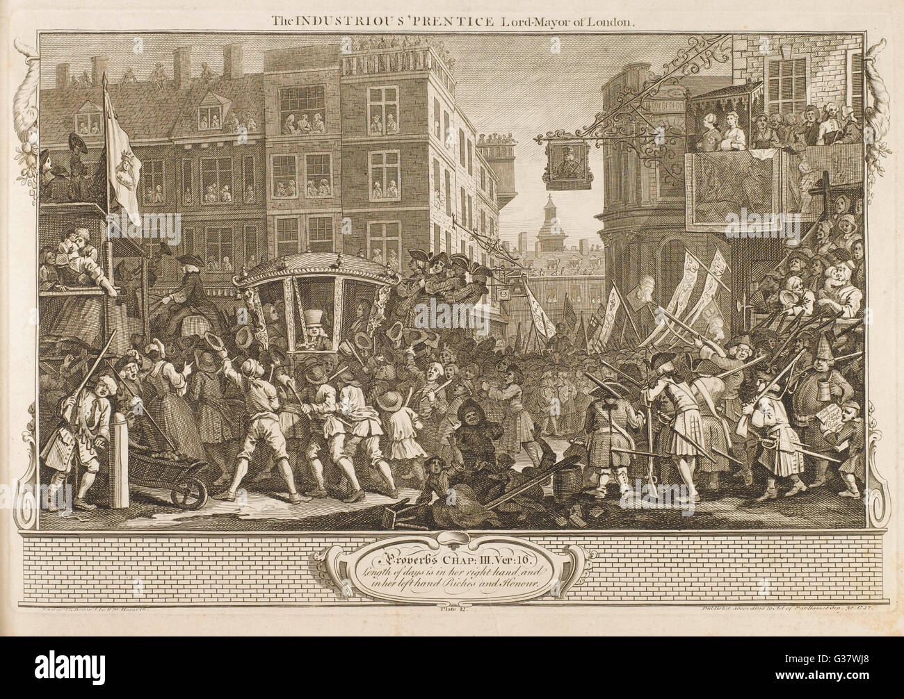 12. The industrious 'prentice  Lord Mayor of London         Date: 1747 - Stock Image