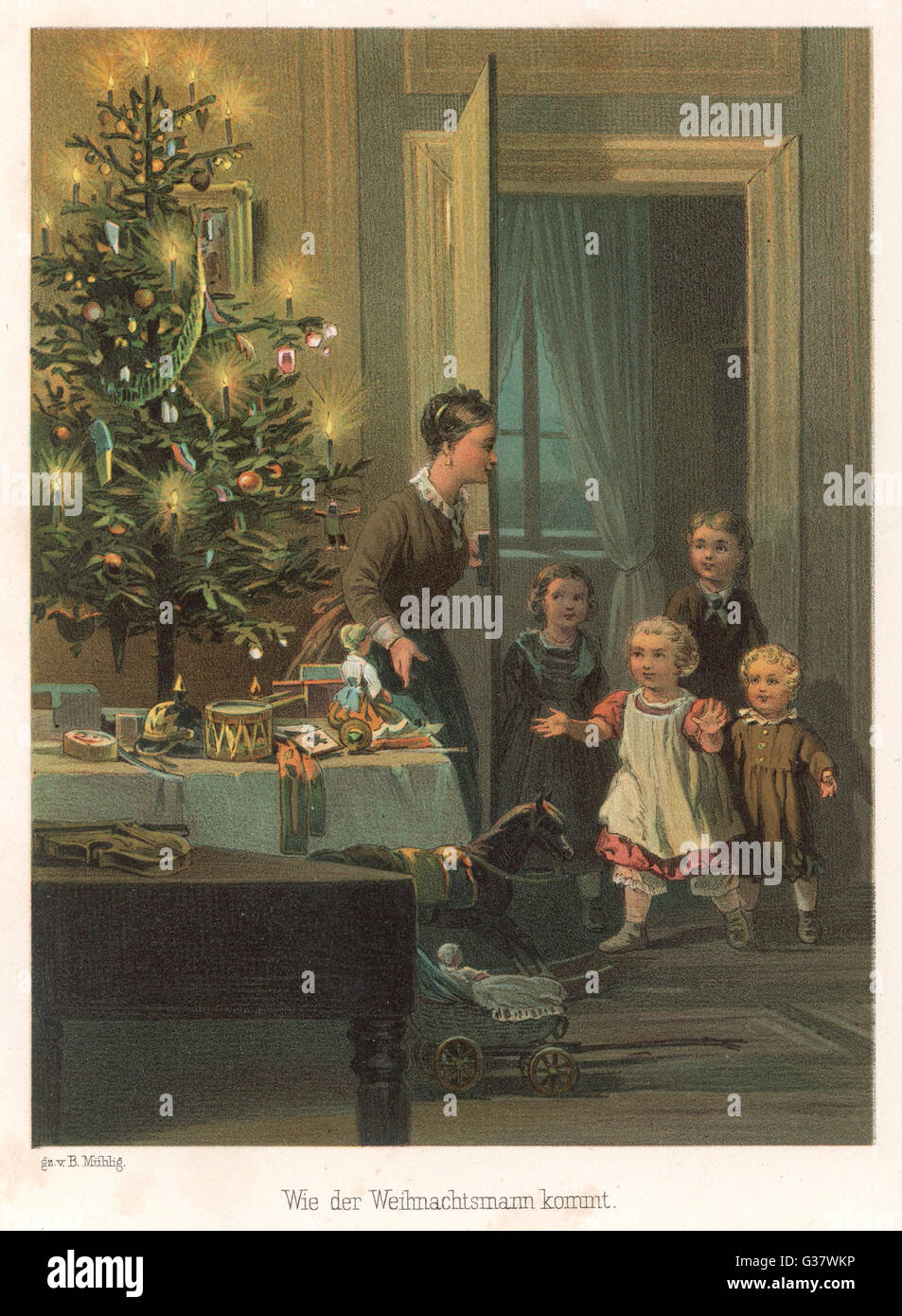 Mama calls in the children for  their first sight of the tree         Date: circa 1870 - Stock Image