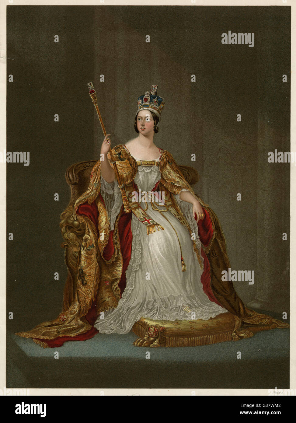 QUEEN VICTORIA  In her Coronation robes, June 1838       Date: 1819 - 1901 - Stock Image