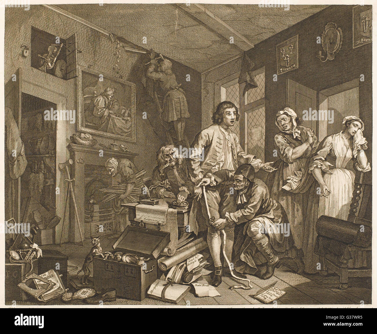 1. The young heir takes  possession of the miser's  effects        Date: 1735 - Stock Image