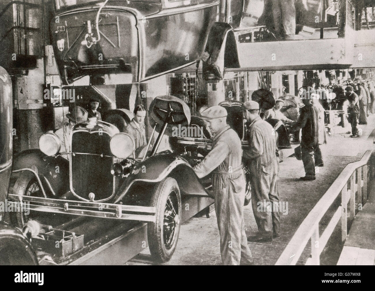 Working On The Ford Assembly Line Date 1929 Stock Photo 105280176