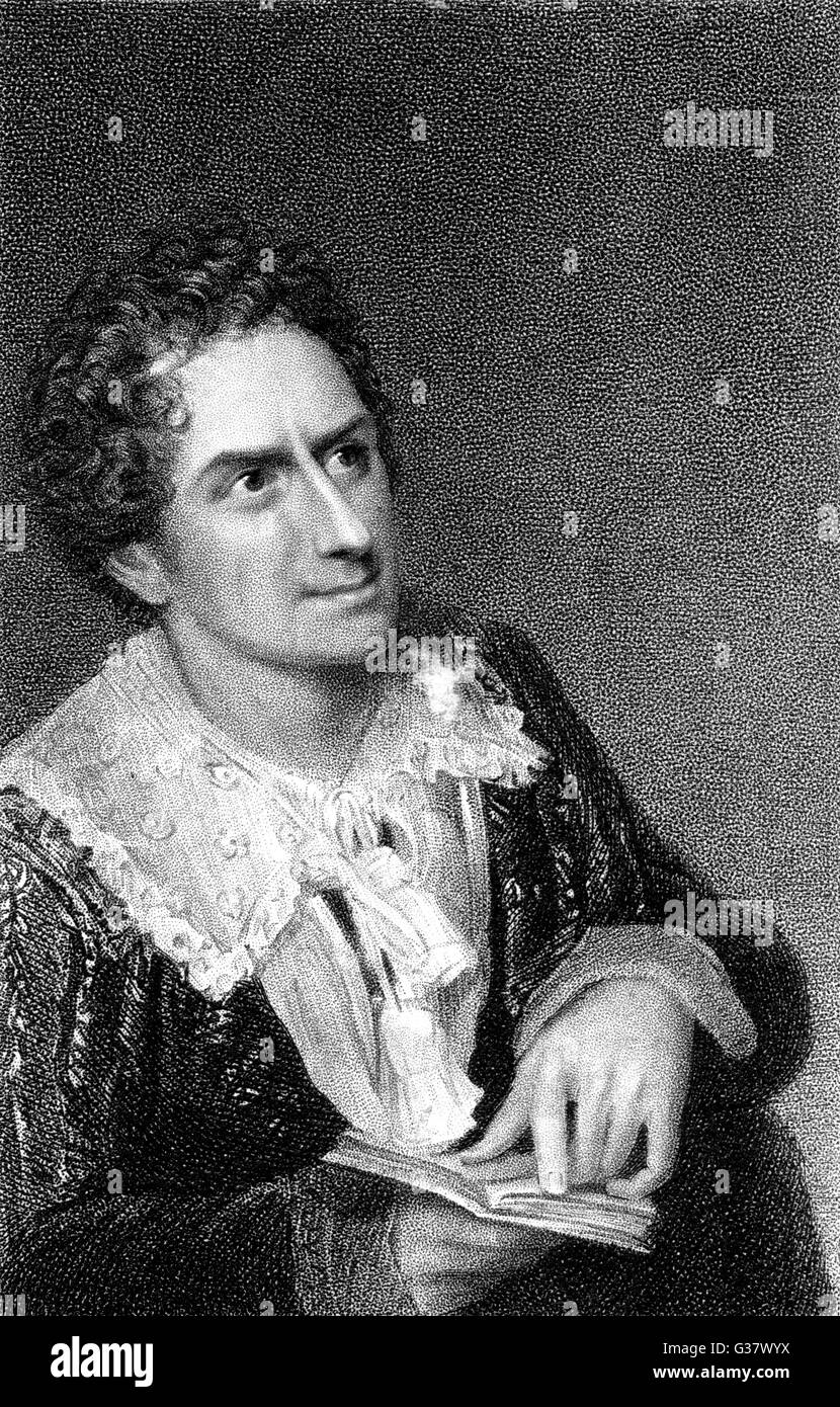The actor, Edmund Kean, in the role of Hamlet.        Date: 1814 - Stock Image