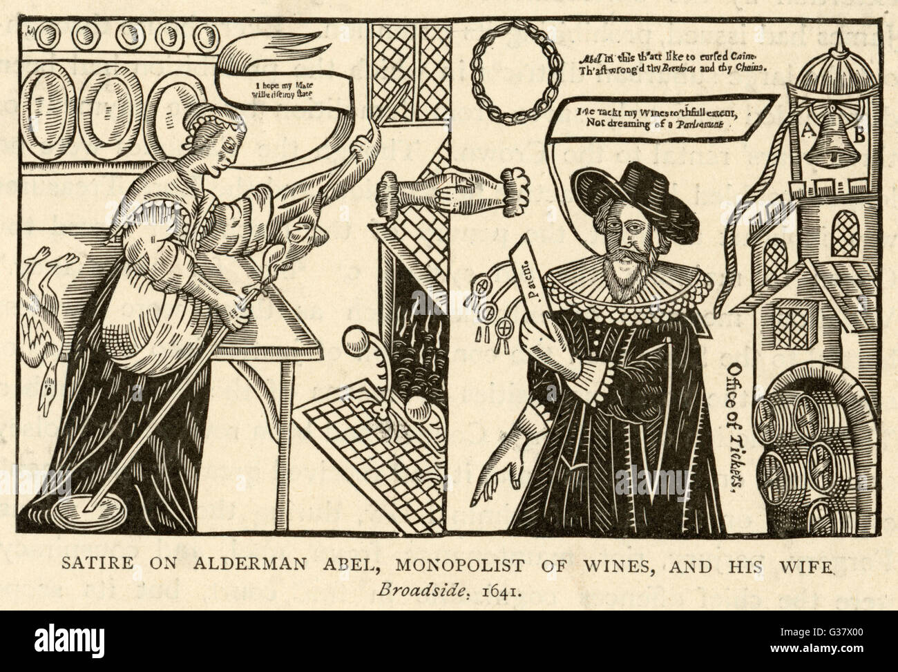 A satire on Alderman Abel, 'Monopolist of wines', and his  wife.       Date: 1641 - Stock Image