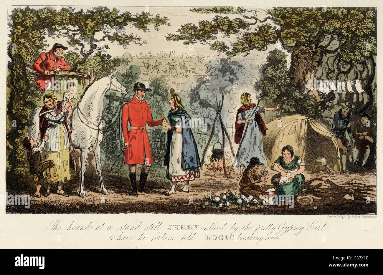 Foxhunters encounter an encampment of gipsies        Date: 1828 - Stock Image