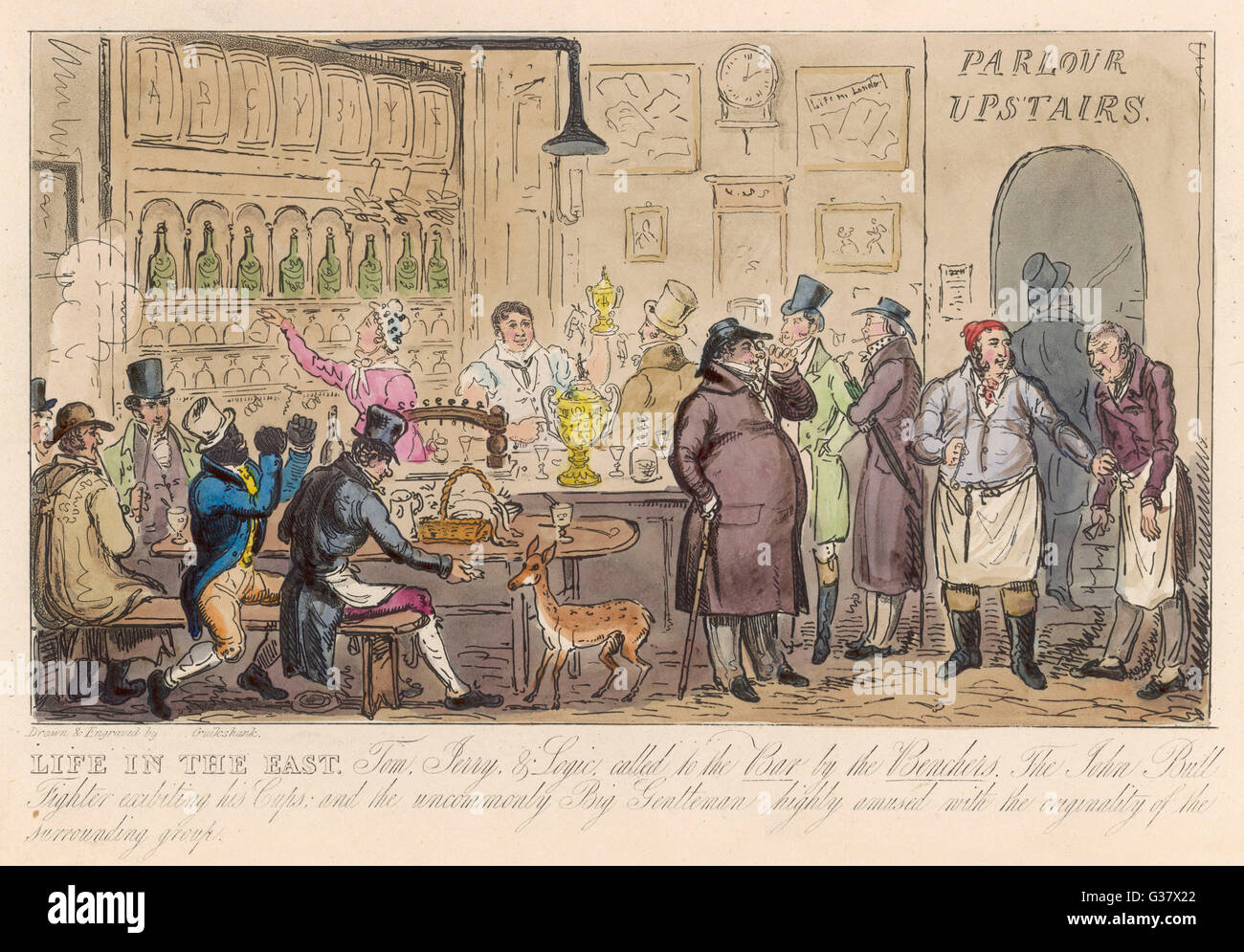The clientele is varied inside  this pub in the East End of  London.       Date: 1828 - Stock Image