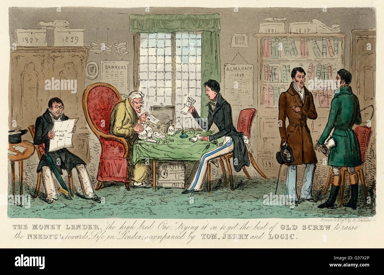 A visit to a money lender         Date: 1828 Stock Photo