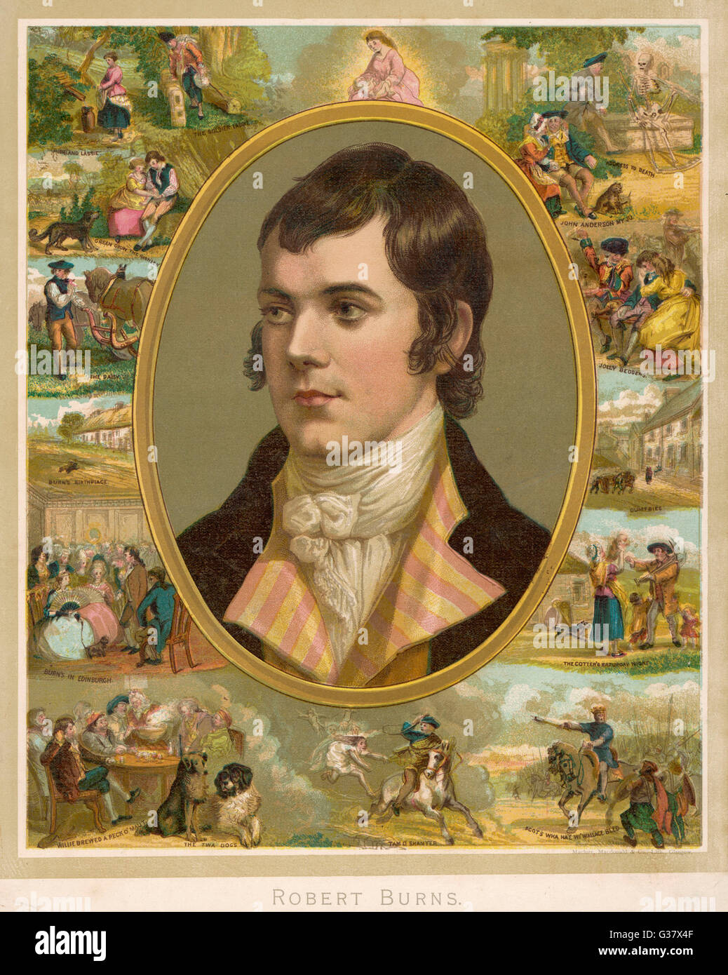 ROBERT BURNS  Scottish national poet  Portrait surrounded by his  creations     Date: 1759 - 1796 - Stock Image