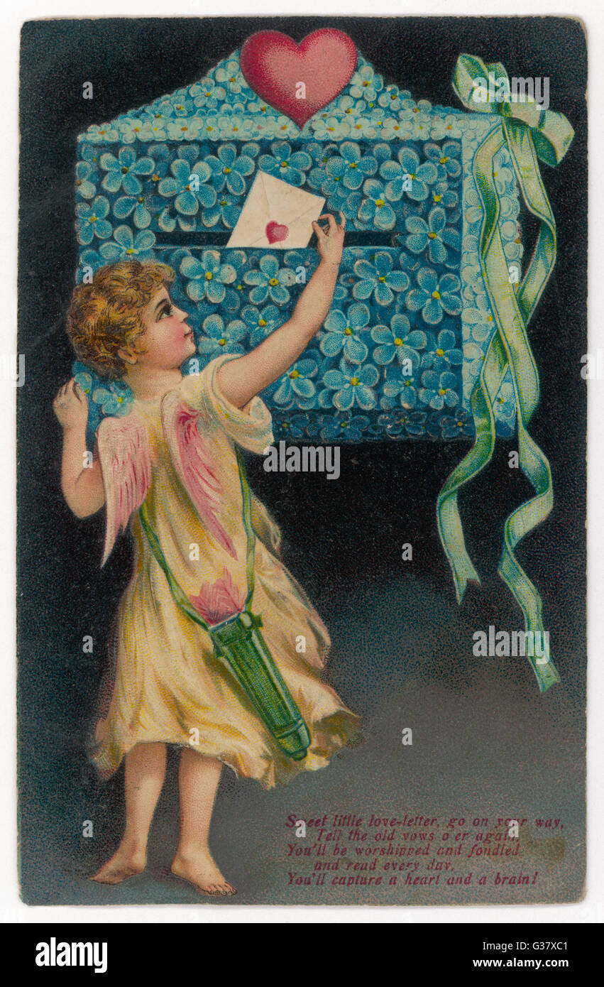 Cupid posts a billet-doux - 'Sweet little love letter, go  on your way...'        Date: 1908 - Stock Image