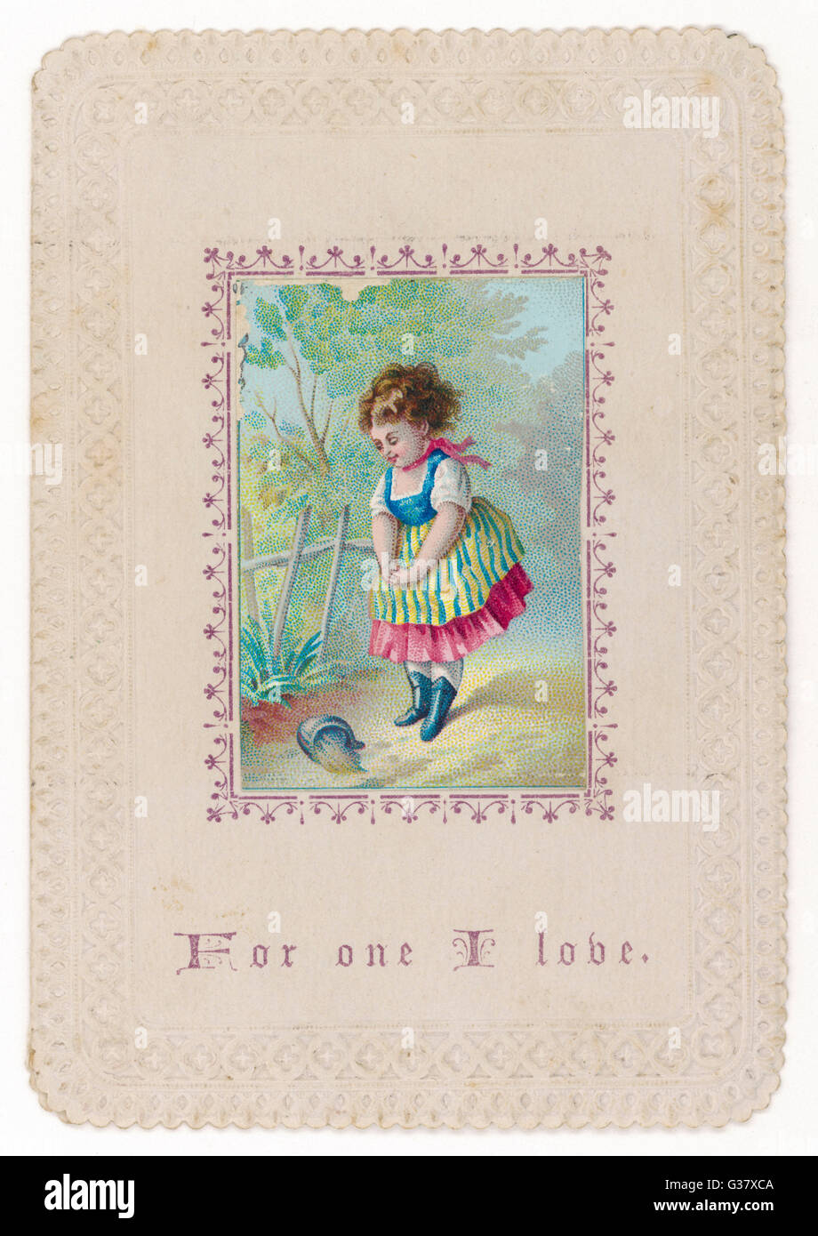 'For one I love' - girl on a path with spilt milk  - obscure symbolism ?        Date: circa 1870 - Stock Image