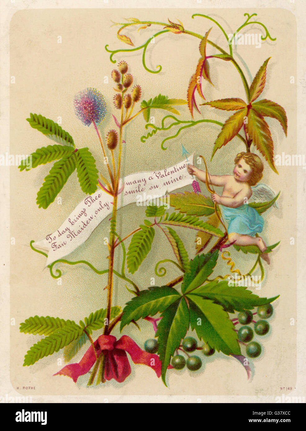 Cupid with a message - 'Today brings thee many a  Valentine, Fair Maiden, only  smile on mine !'       Date: - Stock Image