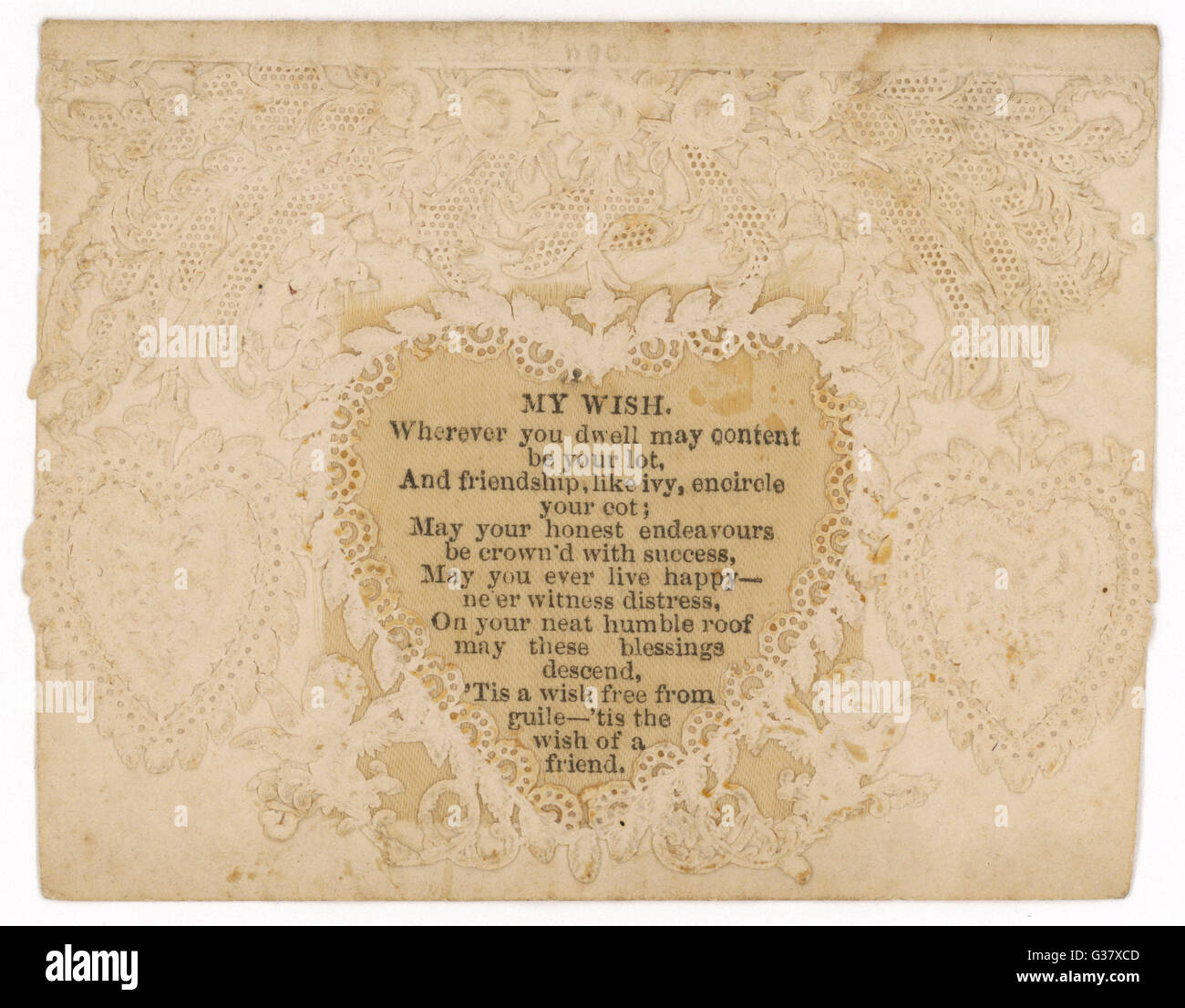 All-white card with heart  surrounded by 'lace' - and poem 'My Wish'        Date: circa 1860 - Stock Image