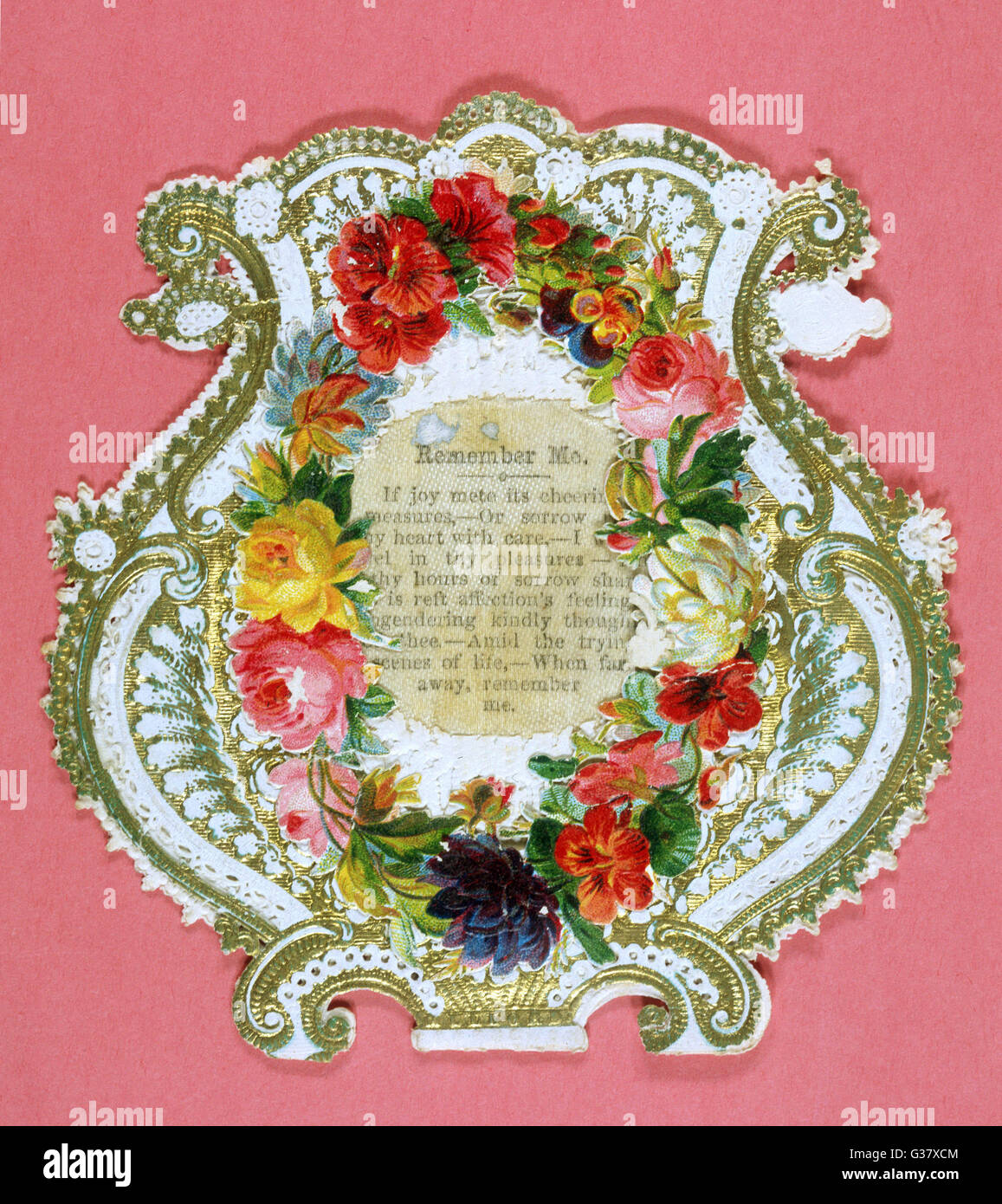 'Remember me' - a rather wordy  text in lyre-shaped floral  frame        Date: circa 1870 - Stock Image