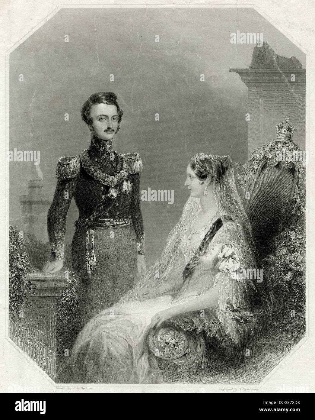 QUEEN VICTORIA BRITISH ROYALTY  Victoria and Albert at the  time of their wedding.       Date: 1840 - Stock Image