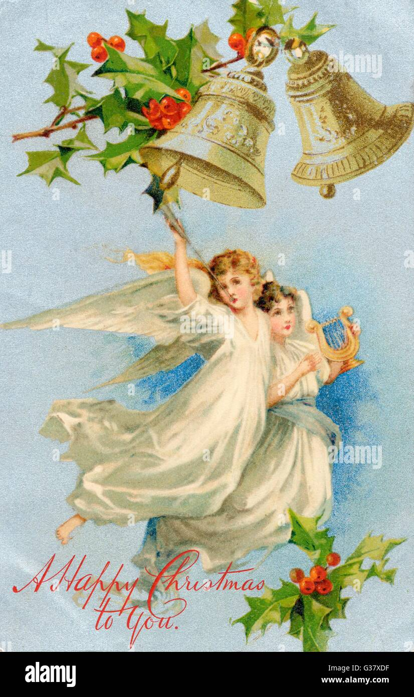 Musical angels fly past          Date: 1907 - Stock Image