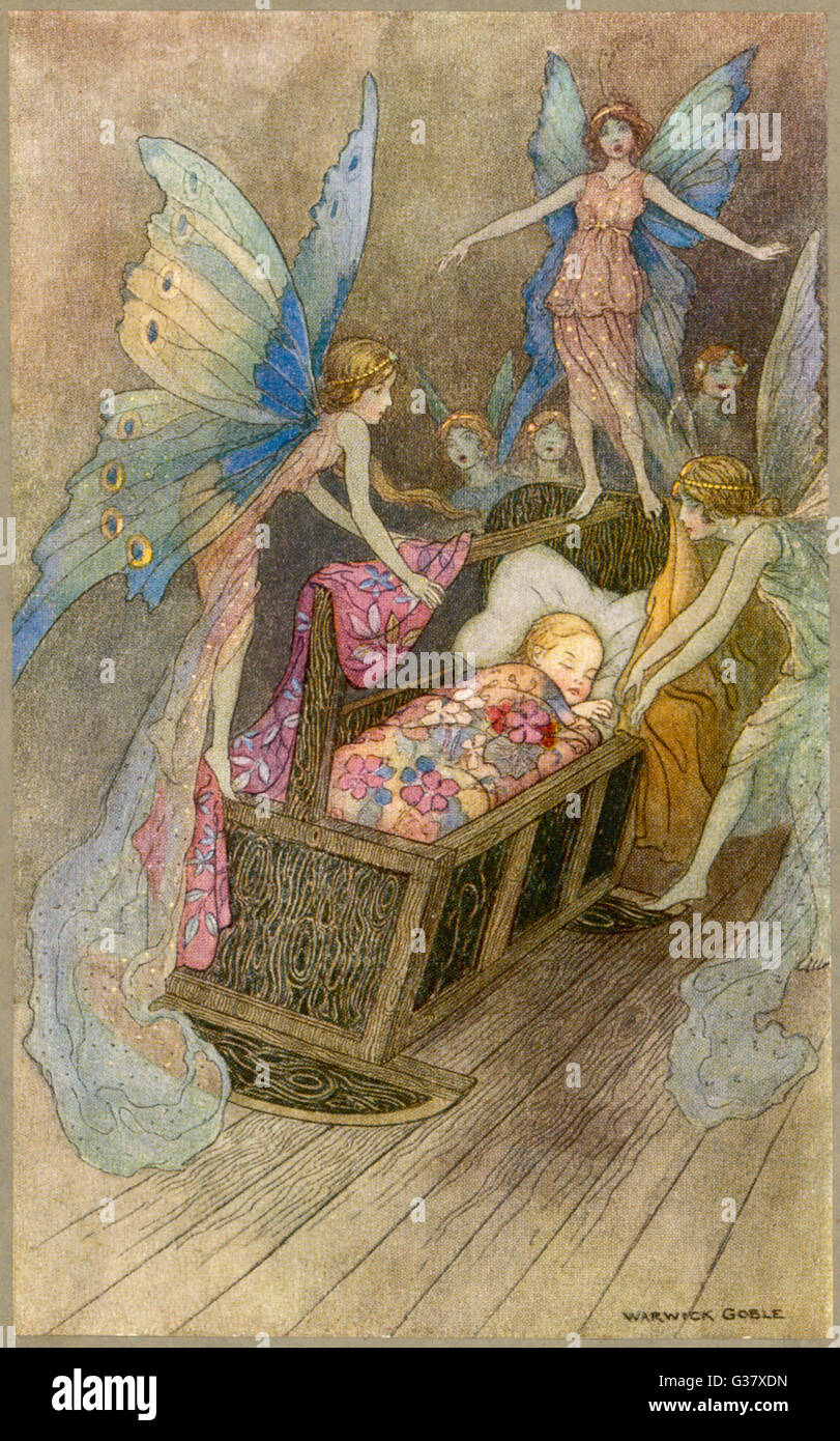 Fairies around a baby's cot - Stock Image