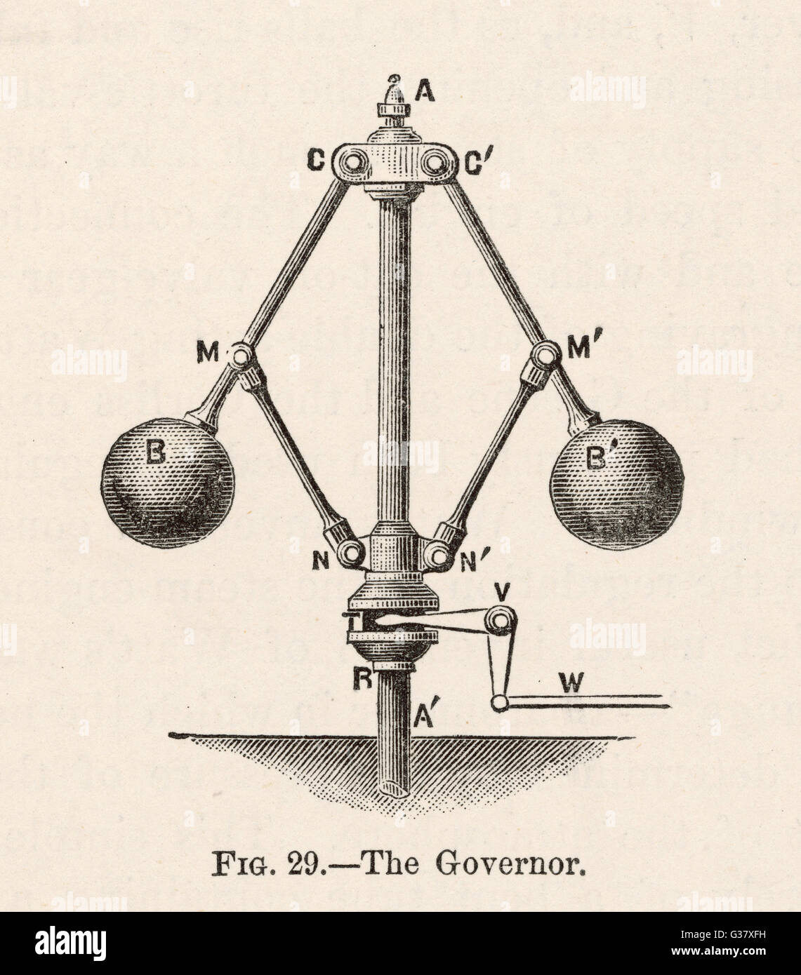 Governor, or 'Fly-Ball  Governor', invented by James Watt to regulate the supply of steam in order to preserve - Stock Image