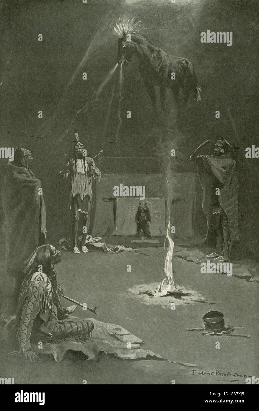 The 'medicine horse' is conjured up by medicine men.     Date: 1897 - Stock Image