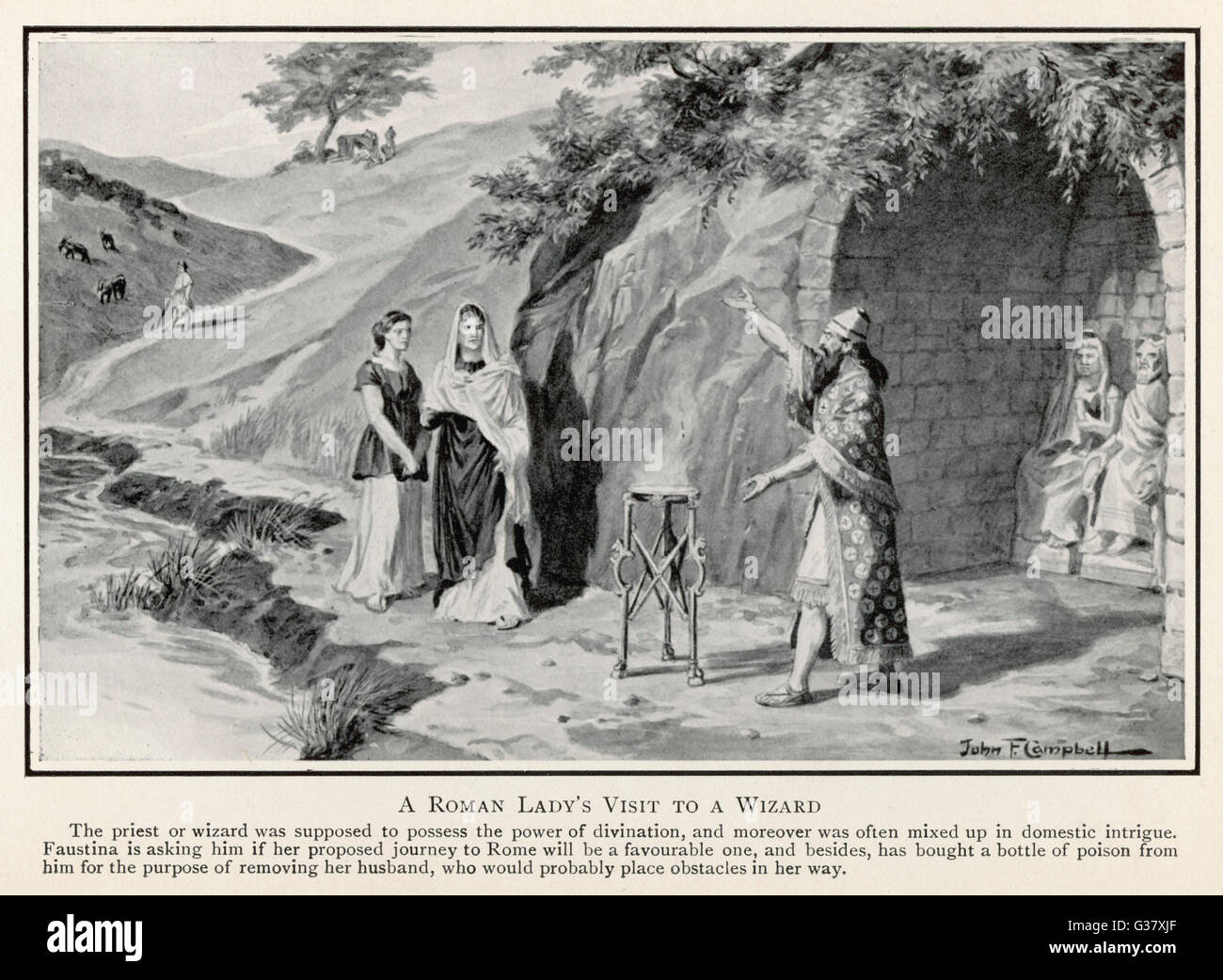 A Roman lady in Britain consults a native magician.        Date: 1st or 2nd century - Stock Image