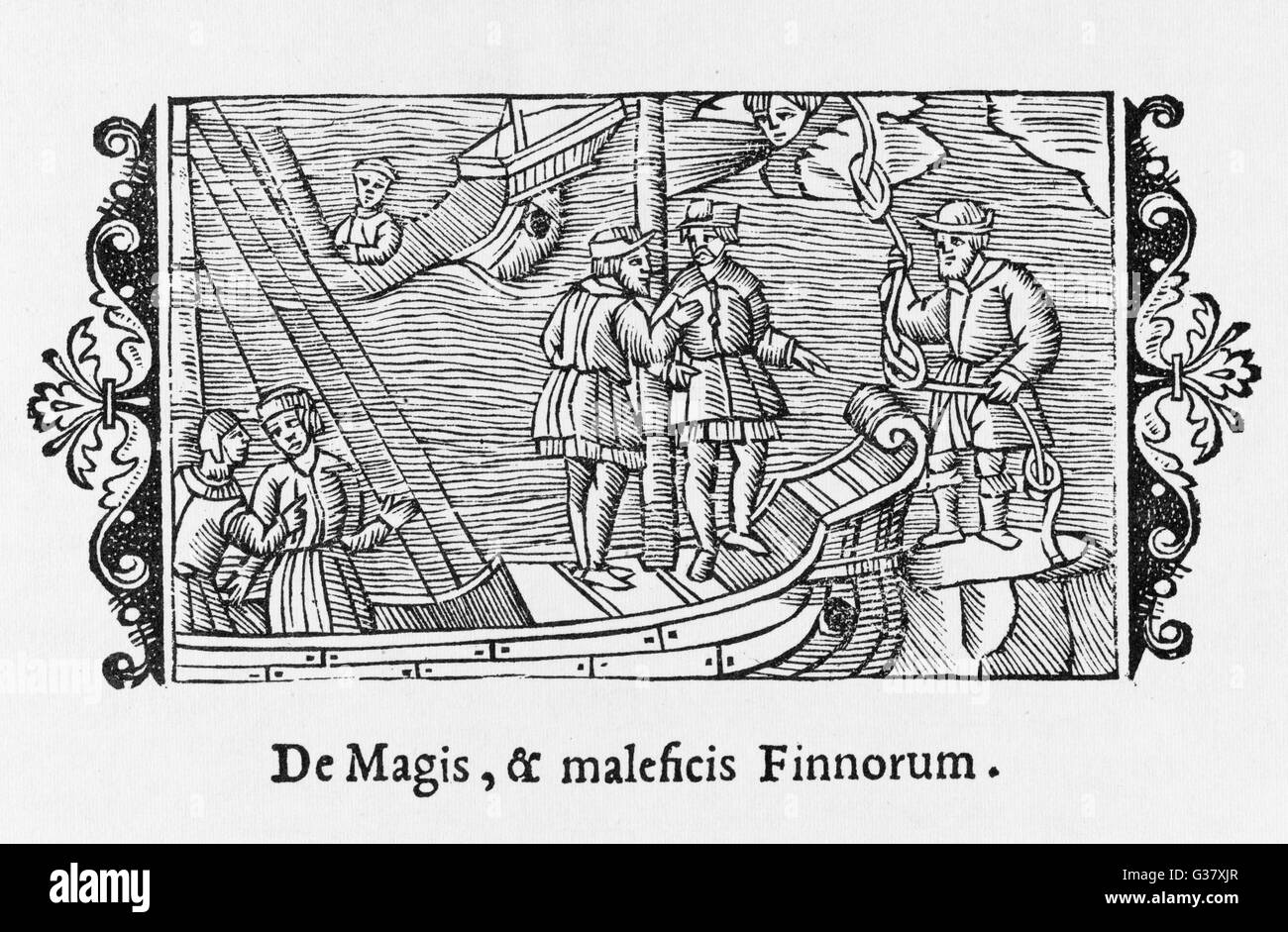 Finnish witches sell favourable winds to sailors.     Date: 1555 - Stock Image