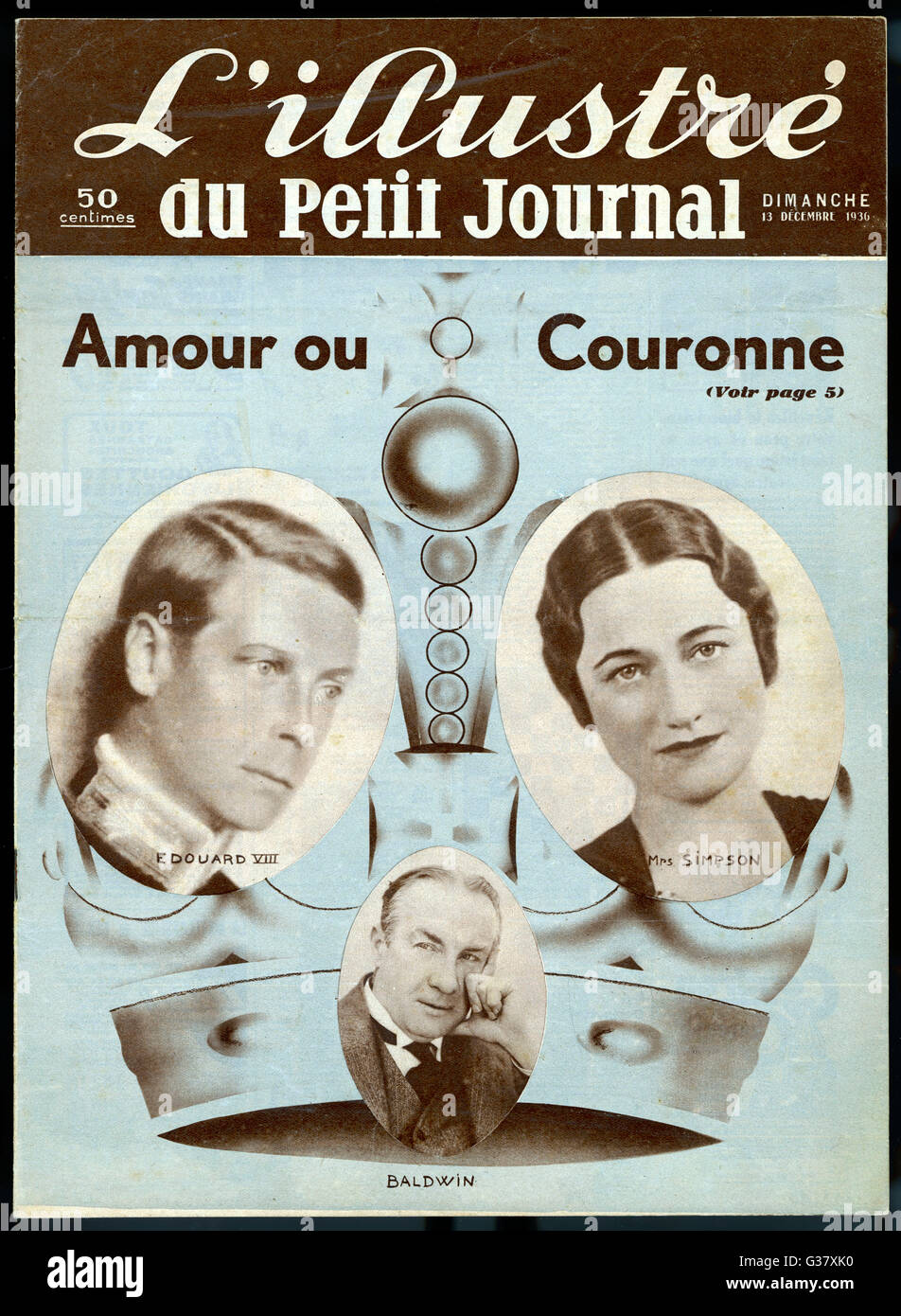 'Amour ou Couronne'? Edward VIII makes his choice, with a little help from Stanley Baldwin, the Prime Minister. - Stock Image