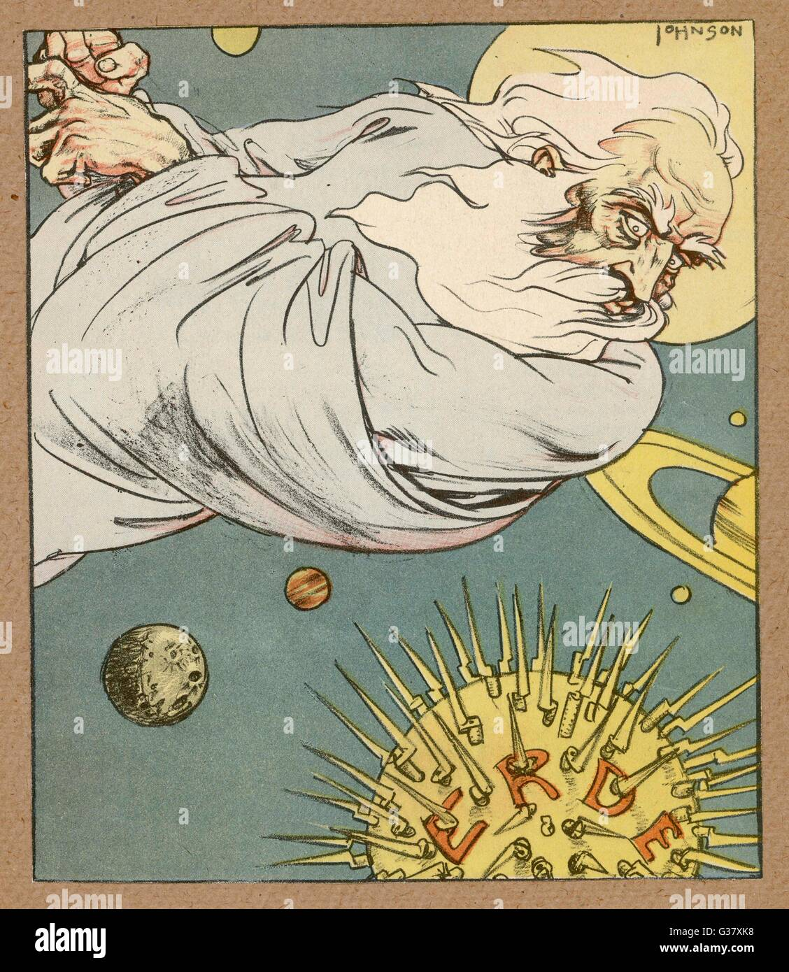 The Creator looks down from space, and is appalled by what he has created!     Date: 1931 - Stock Image