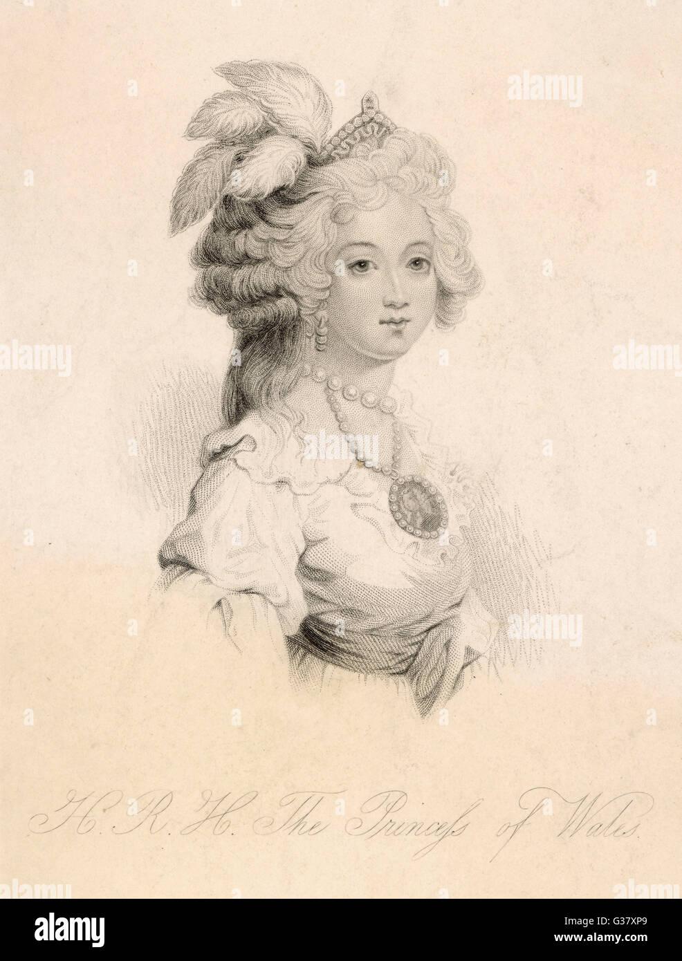 Caroline of Brunswick(1768-1821), wife of George IV.     Date: 1839 - Stock Image